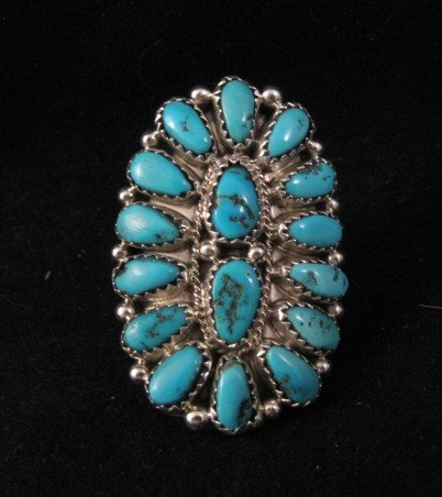 Justin Wilson Navajo Silver & Turquoise Cluster Jewelry Ring sz6-1/2