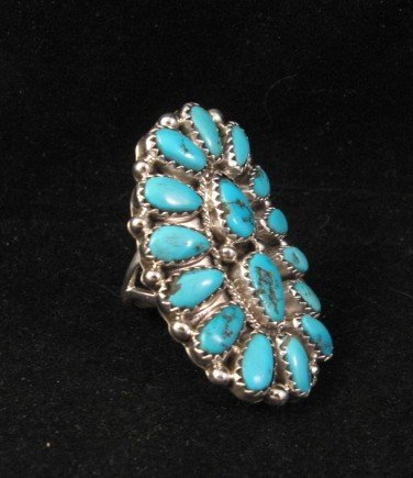 Image 1 of Justin Wilson Navajo Silver & Turquoise Cluster Jewelry Ring sz6-1/2
