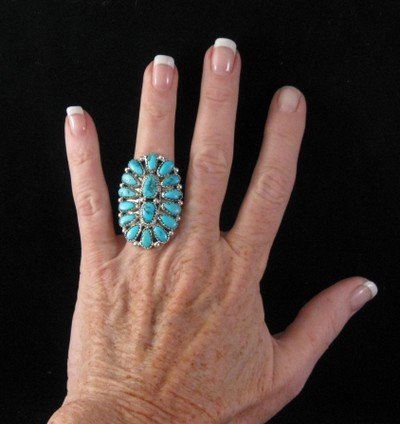 Image 2 of Justin Wilson Navajo Silver & Turquoise Cluster Jewelry Ring sz6-1/2
