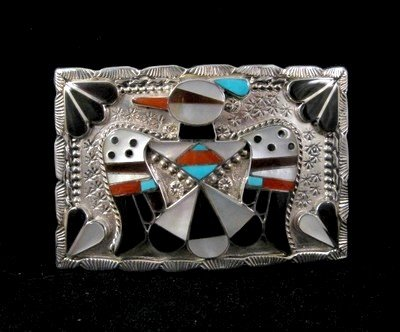 American Indian Zuni Inlay Thunderbird Buckle, Bobby Shack
