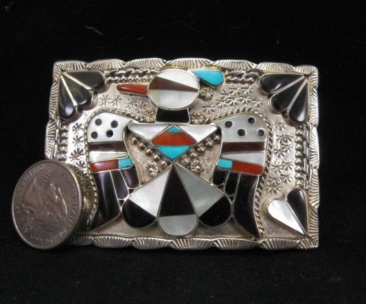 Image 1 of American Indian Zuni Inlay Thunderbird Buckle, Bobby Shack