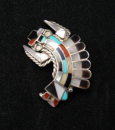 Dead Pawn Zuni Quinton & Margie Quam Mosaic Inlay Pin Pendant