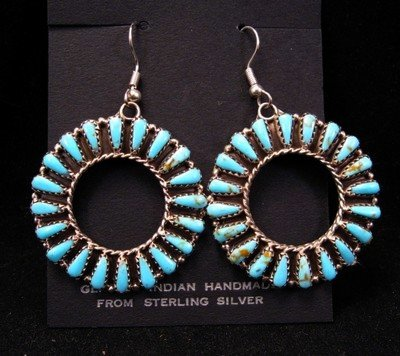 Navajo Dead Pawn Turquoise Cluster Earrings