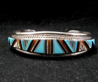 R.L. Yuselew Zuni Inlaid Bracelet Jewelry Native American