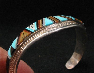 Image 1 of R.L. Yuselew Zuni Inlaid Bracelet Jewelry Native American