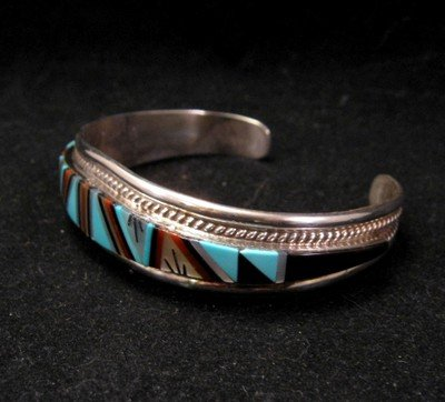 Image 2 of R.L. Yuselew Zuni Inlaid Bracelet Jewelry Native American