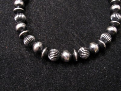 Image 1 of Sterling Silver Navajo Hand Finished Fluted Bead Bracelet