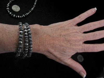 Image 3 of Sterling Silver Navajo Pearls Hand Finished Fluted Bead Bracelet