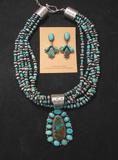 Image 0 of La Rose Ganadonegro Royston Turquoise Sterling Necklace Set - Native American
