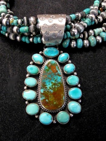 Image 1 of La Rose Ganadonegro Royston Turquoise Sterling Necklace Set - Native American