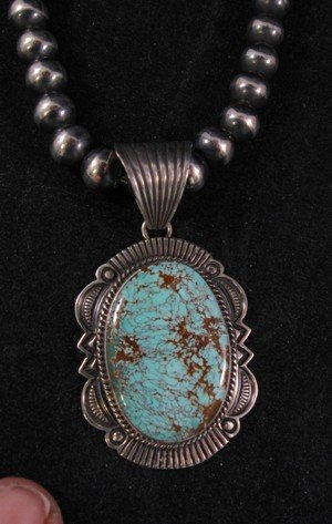 Native American Old Pawn Style Royston Turquoise Silver Pendant