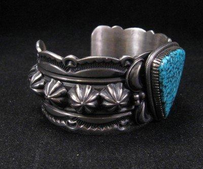 Image 1 of Delbert Gordon Navajo Kingman Turquoise Sterling Silver Bracelet