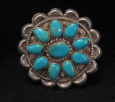 Indian Pawn Jewelry Turquoise Cluster Sterling Silver Pin Pendant