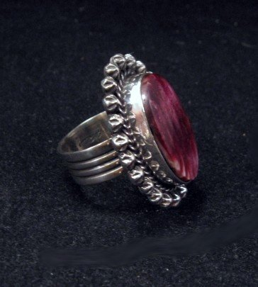 Image 2 of Purple Spiny Oyster Navajo Silver Ring Sz6-1/2 by Happy Piasso