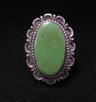 Old Style Navajo Gaspeite Silver Ring Robert Shakey Sz5