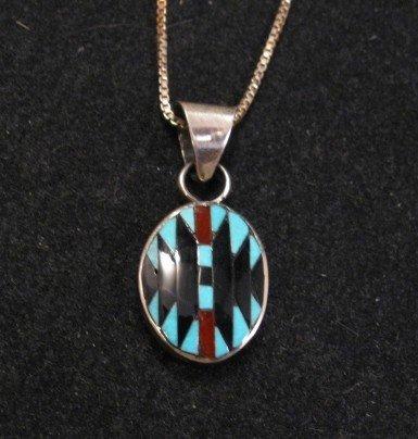 Small Zuni ~ Charlotte Dishta ~ Turquoise Rug Pattern Inlay Pendant