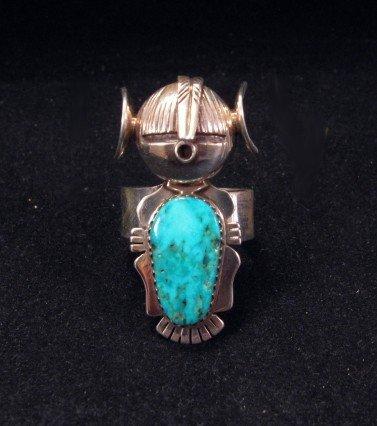 Nelson Morgan Navajo Turquoise Silver Hopi Maiden Ring sz9