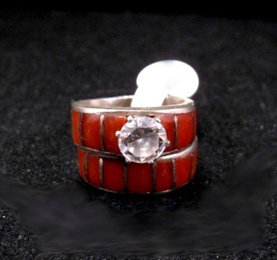 Native American Dead Pawn Coral Inlay Engagement & Wedding Bands sz5-1/2