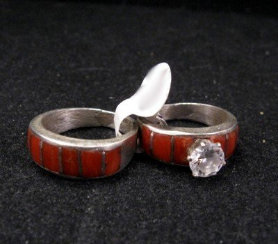 native american dead pawn coral inlay engagement wedding bands sz5 12 - Native American Wedding Rings