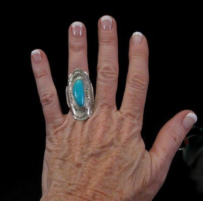 Native American Navajo Indian Turquoise Silver Ring sz6