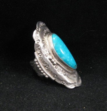 Image 1 of Native American Navajo Indian Turquoise Silver Ring sz6