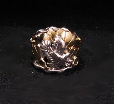 Native American Sterling Silver & Brass Eagle Ring sz6
