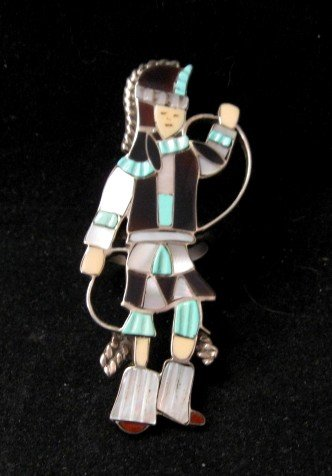 Vintage Zuni Dancer Inlay Silver Ring JA Calavaza sz7-1/2