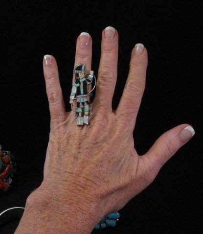 Image 1 of Vintage Zuni Dancer Inlay Silver Ring JA Calavaza sz7-1/2