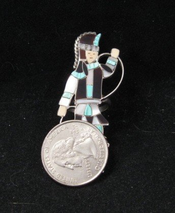 Image 4 of Vintage Zuni Dancer Inlay Silver Ring JA Calavaza sz7-1/2