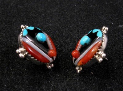 Image 1 of Virginia Quam Zuni Turquoise Multistone Sterling Silver Earrings