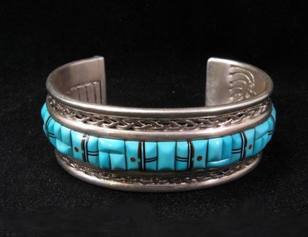 Image 1 of Lloyd Tsalabutie Zuni Raised Cobblestone Inlay Sunface Bracelet