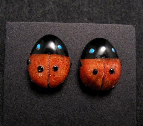 Image 0 of Cute Zuni Indian Ladybug Fetish Earrings by Georgette Quam