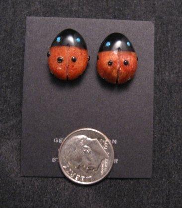 Image 1 of Cute Zuni Indian Ladybug Fetish Earrings by Georgette Quam