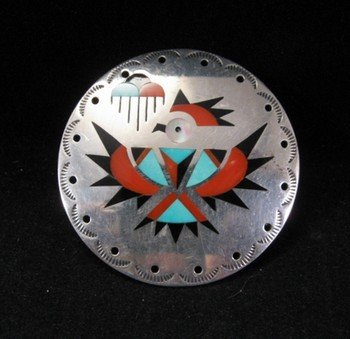 Vintage Zuni Albert and Dolly Banteah Thunderbird Inlay Silver Pendant