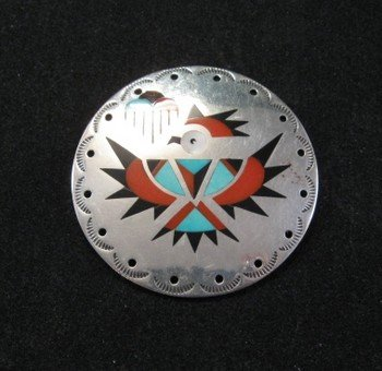Image 2 of Vintage Zuni Albert and Dolly Banteah Thunderbird Inlay Silver Pendant
