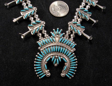 Image 0 of Zuni Turquoise Needlepoint Silver Squash Blossom Necklace Earring Set, Eva Wyaco