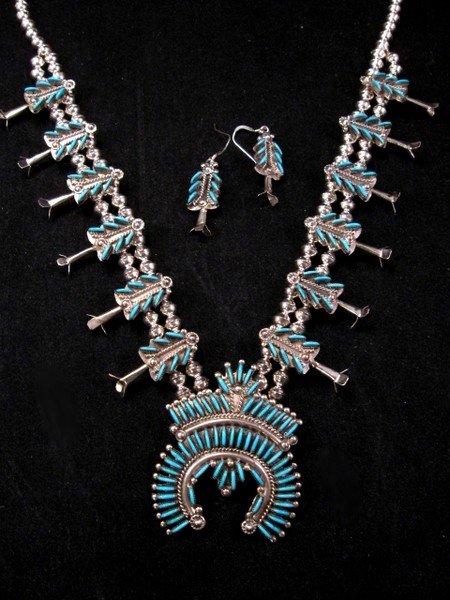 Image 1 of Zuni Turquoise Needlepoint Silver Squash Blossom Necklace Earring Set, Eva Wyaco