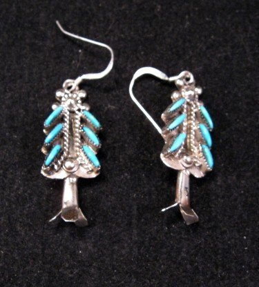 Image 2 of Zuni Turquoise Needlepoint Silver Squash Blossom Necklace Earring Set, Eva Wyaco