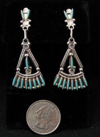 Bryant Waatsa Zuni Turquoise Needlepoint Dangle Earrings