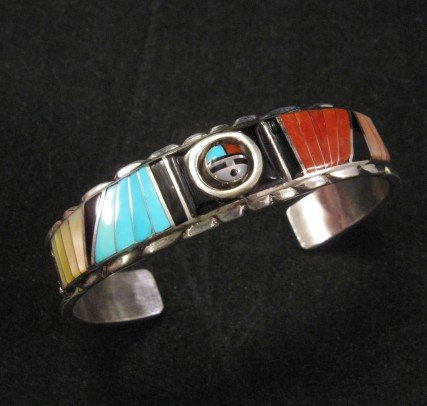 Don Dewa Zuni Inlay Sunface Spinner Bracelet, Reversible