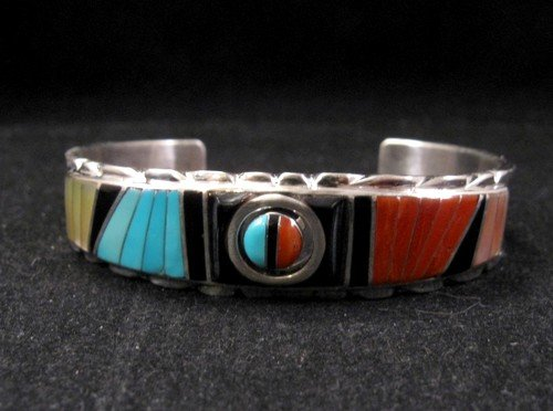 Image 1 of Don Dewa Zuni Inlay Sunface Reversible Spinner Bracelet