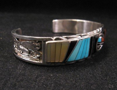 Image 2 of Don Dewa Zuni Inlay Sunface Reversible Spinner Bracelet