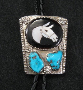 Isabelle Simplicio * Zuni * Turquoise Horse Head Mosaic Inlay Bolo