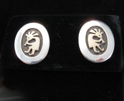 Native American Silver & 14K Gold Kokopelli Earrings