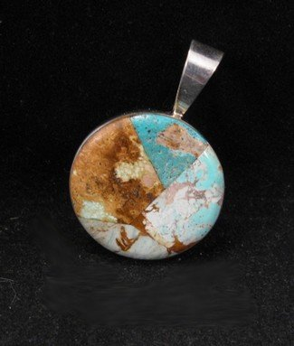 Image 0 of Nevada Turquoise Inlay Sterling Silver Pendant, Dukepoo