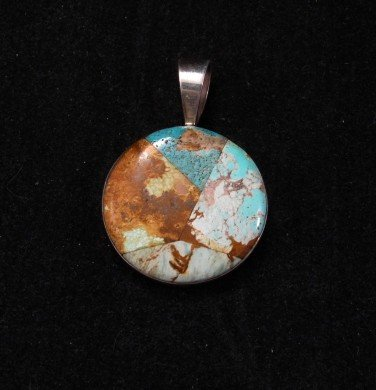 Image 1 of Nevada Turquoise Inlay Sterling Silver Pendant, Dukepoo