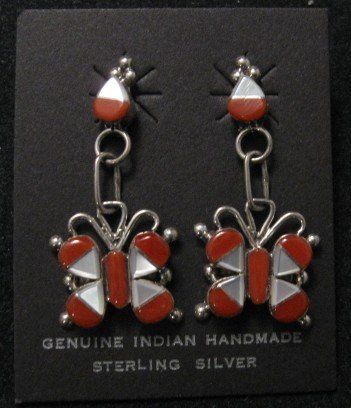 Zuni Coral MOP Inlaid Butterfly Silver Earrings