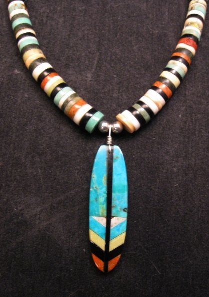 Santo Domingo Inlaid Feather Necklace, Rudy & Mary Coriz
