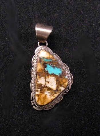 Navajo Native American Boulder Turquoise Silver Pendant
