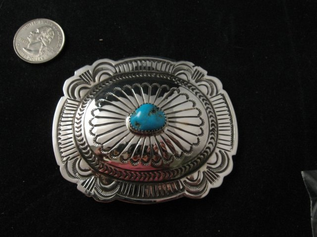 Navajo Turquoise Stamped Sterling Silver Buckle, Carson Blackgoat